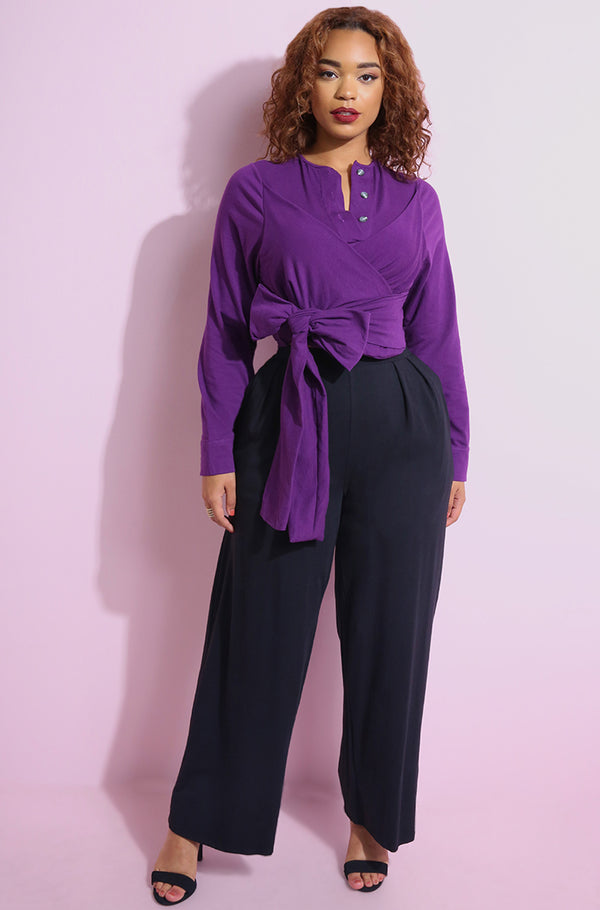 Purple Button Down Crop Top With Thick Waist Tie plus sizes