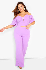 Purple Wide Leg Pants Plus Sizes