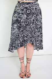 Black Ruffled Faux Wrap Skirt Plus Sizes