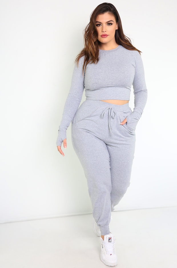 Gray Thumbhole Crop Top Plus Sizes