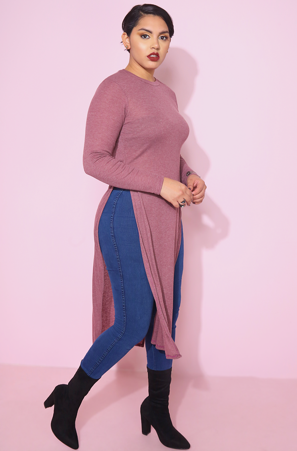 Heather purple Long sleeve Double Slit Top plus sizes