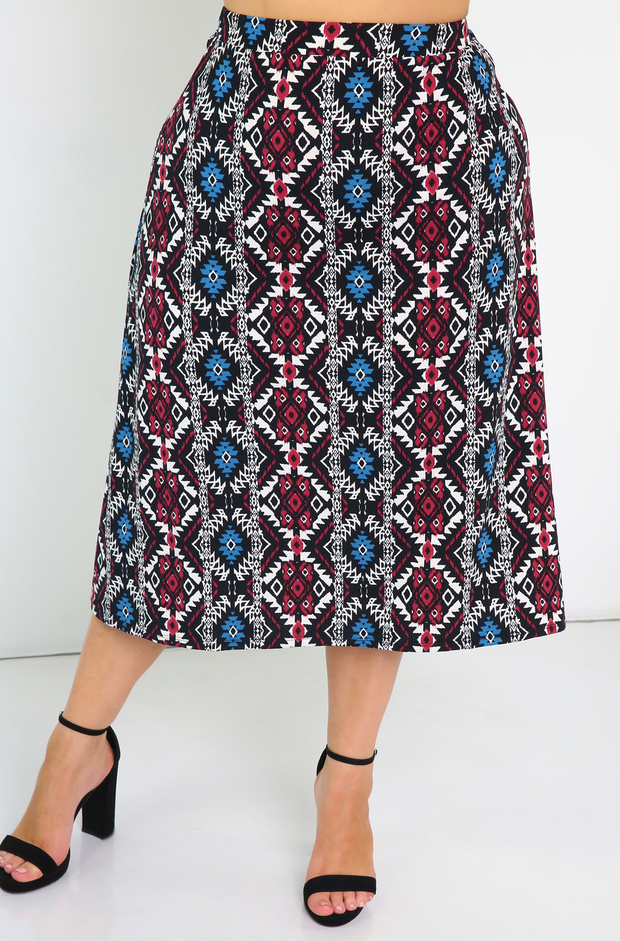 Black  Midi Skater Skirt Plus Sizes