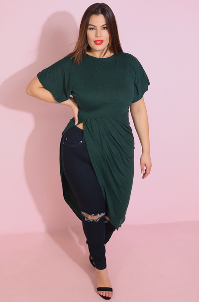 Emerald Green Peplum Midi Top Plus Sizes