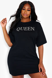 "Rebdolls ""Queen"" Oversized Graphic T-Shirt Dress"