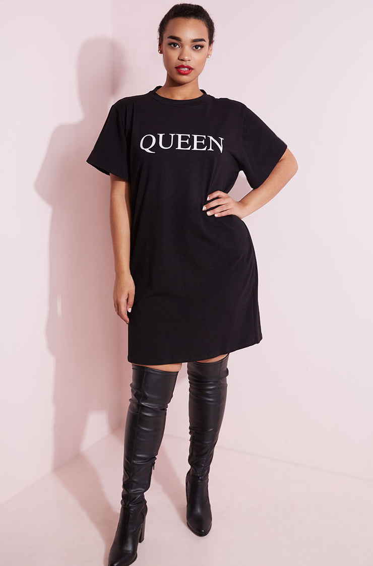 Black Oversized casual queen t-shirt dress plus sizes