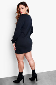 Black Plus Size Oversized Long Sleeve T-Shirt Dress