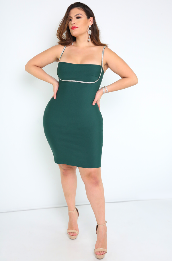 Green Rhinestone Bust Bandage Dress Plus Sizes