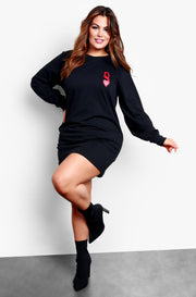 Black Long Sleeve Graphic Mini T-Shirt Dress
