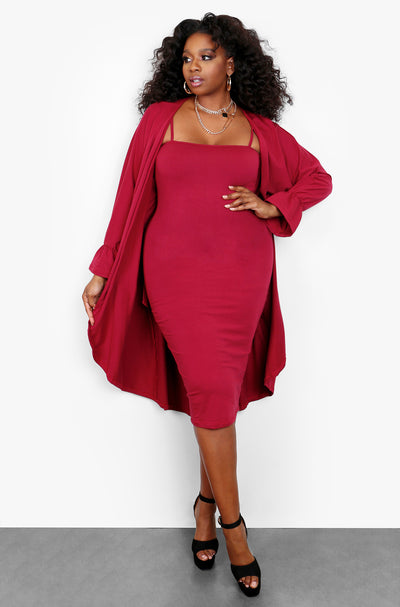 Burgundy Bell Sleeve Cardigan & Strappy Midi Dress Set