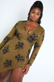 Gold Wrap High-Low Maxi Dress Plus Sizes