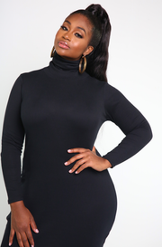 Black Turtleneck Bodycon Mini Dress Plus Sizes