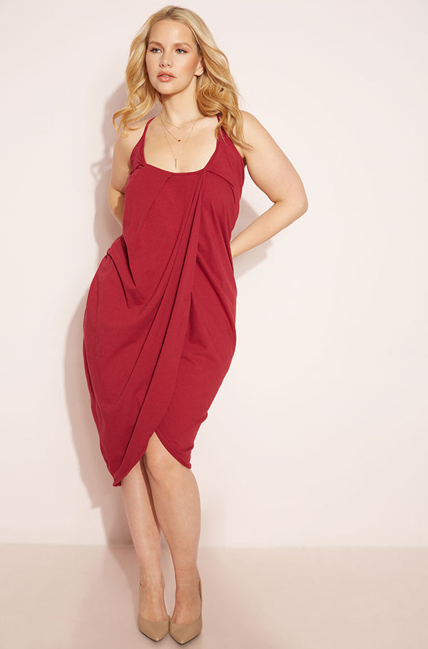 Burgundy Draped Bodycon Midi Dress plus sizes