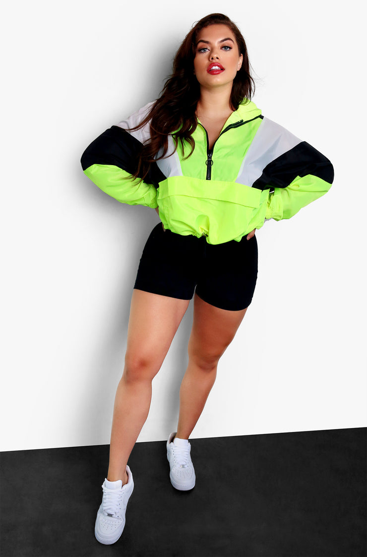 Neon Green Multi Tone Wind Breaker Jacket Plus Sizes