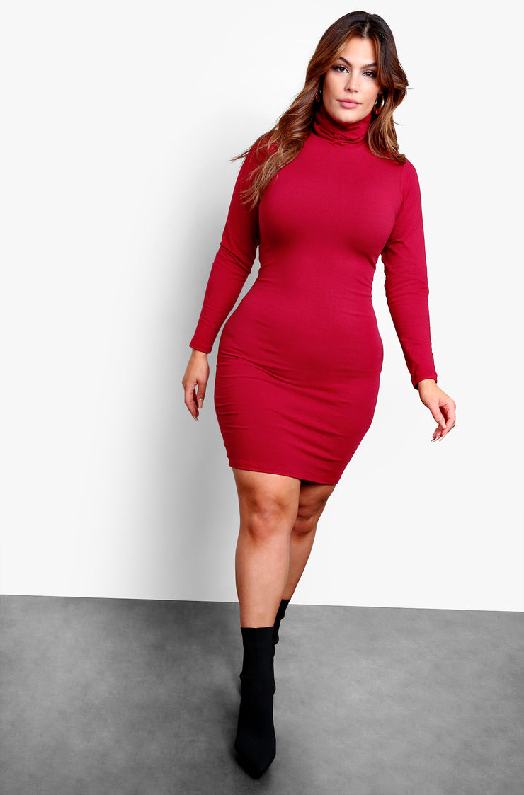 Burgundy Long Sleeve Turtleneck Bodycon Mini Dress