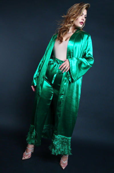 Satin Full Length Fringe Cardigan Plus Sizes