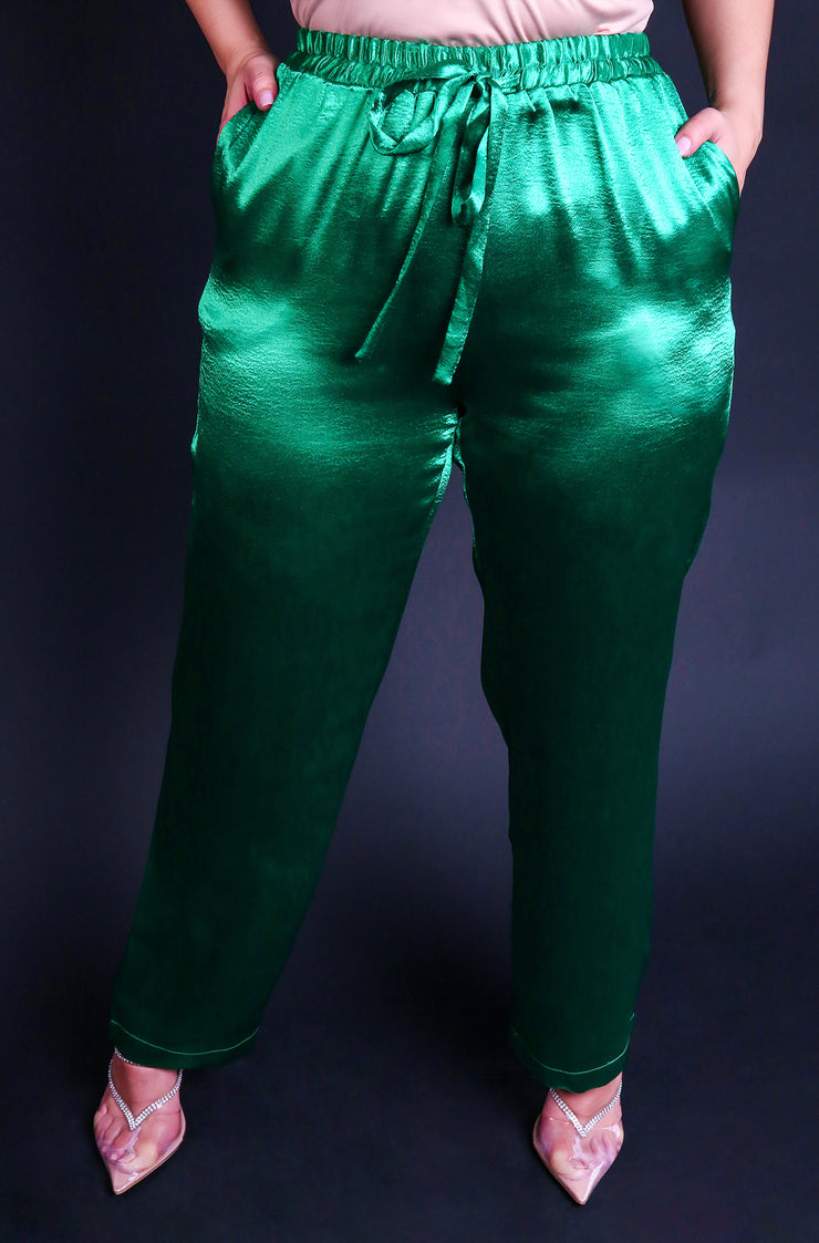 Emerald Green Tie Front High Waisted Satin Pants Plus Sizes