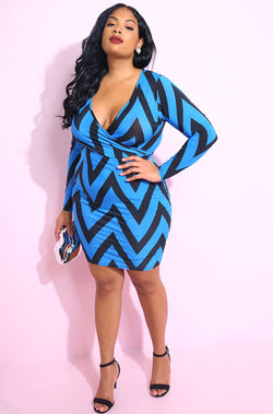 Royal Blue Cross over plunge neckline Bodycon mini dress plus sizes