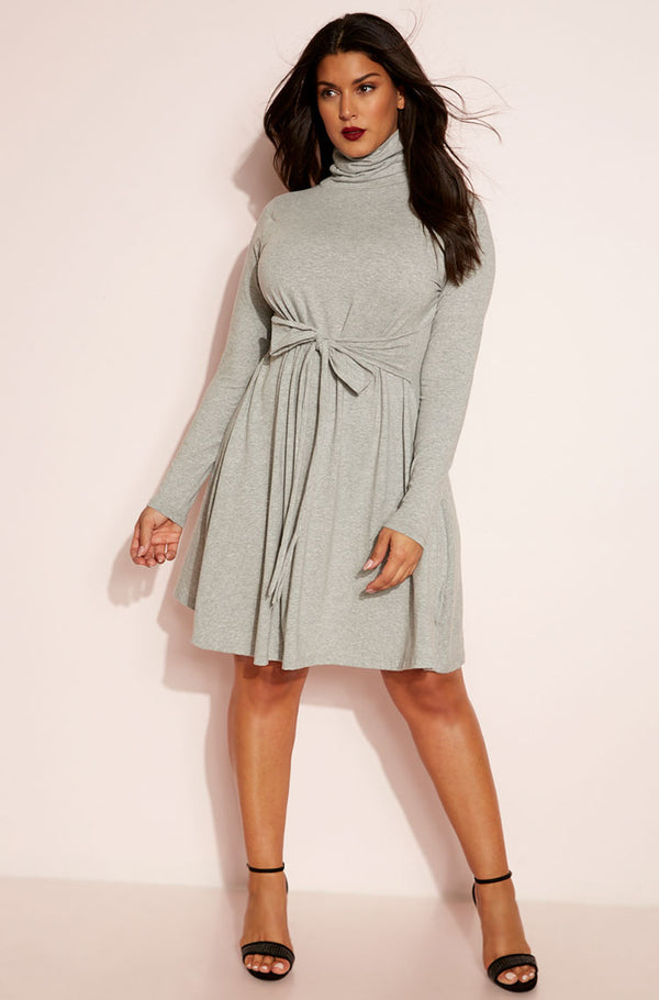 Gray Mini Skater Dress plus sizes