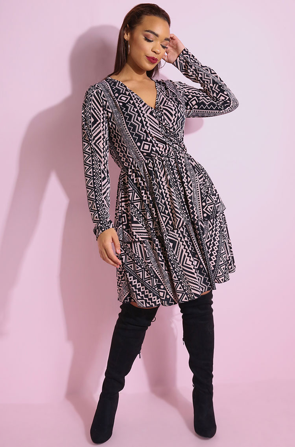 Black Aztec Print Double Hem Mini Skater Dress plus sizes