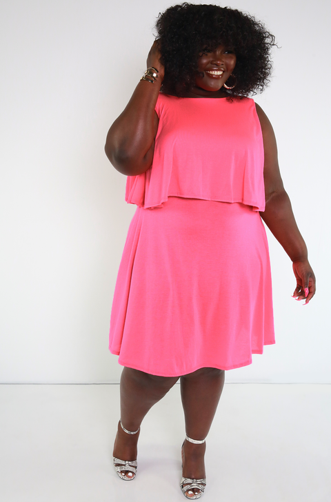 Neon Pink Ruffled A-Line Dress Plus Sizes
