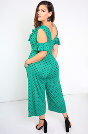 Green Flutter Sleeve Cropped Jumper w/ Pockets Plus Sizes