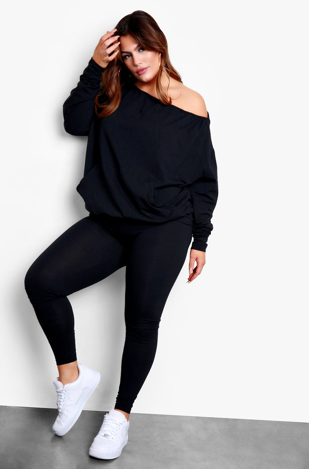 Black Over The Shoulder Sweater & Legging Set