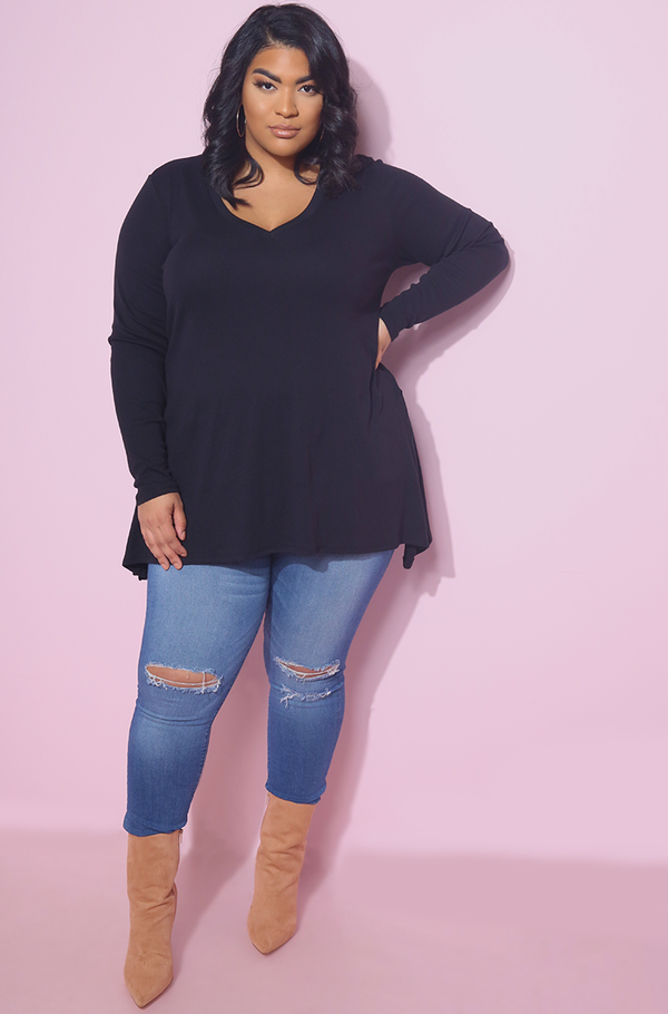Black Side Slit Relaxed Fit Ribbed Top Plus sizes