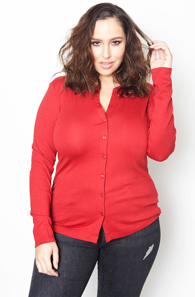 Red Knit Jersey Cardigan plus sizes