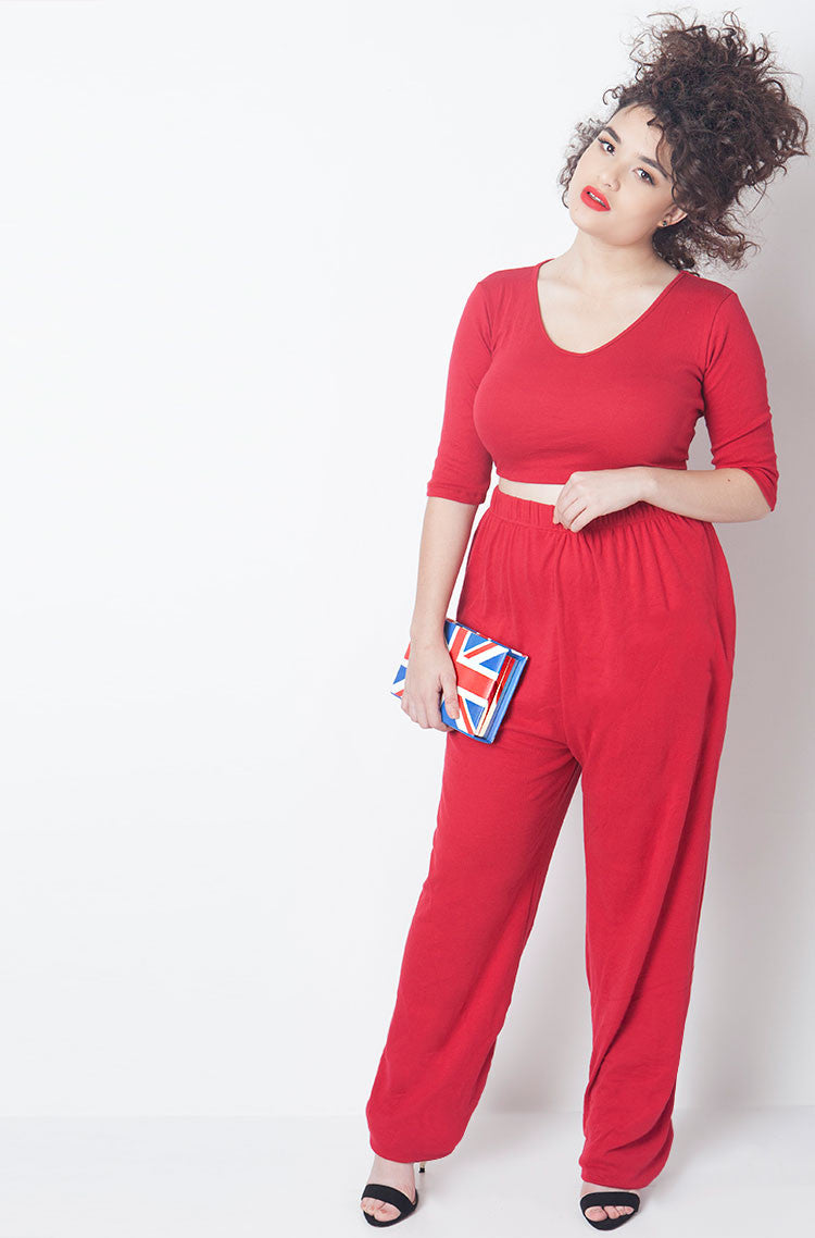 Red Ribbed 3/4 Sleeve Crop Top plus sizes