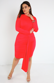 Red Ruched Mini Dress  Plus Sizes