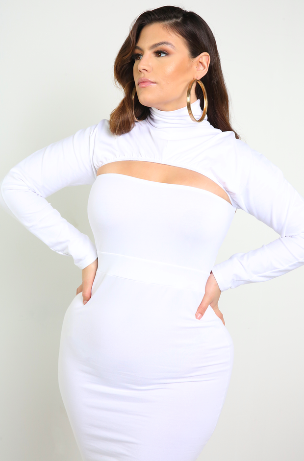 White Turtleneck Bodycon Mini Dress Plus Sizes