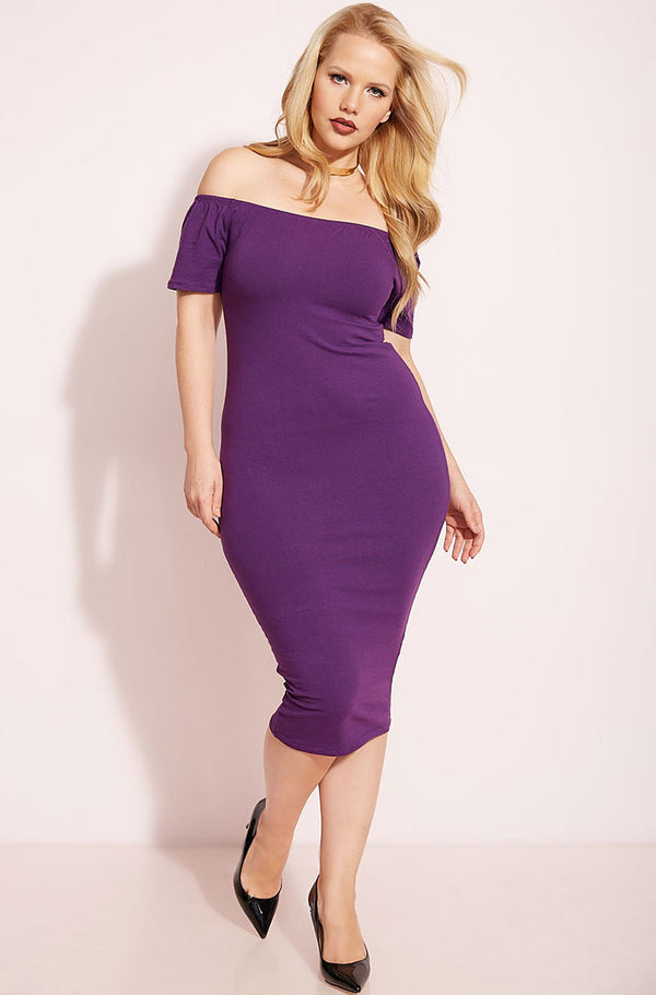 Purple Over The Shoulder Bodycon Midi Dress plus sizes