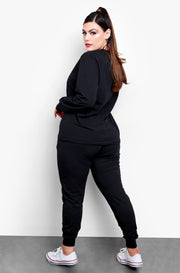 Black  Long Sleeve Crew Neck Top & High Waisted Joggers Set Plus Sizes