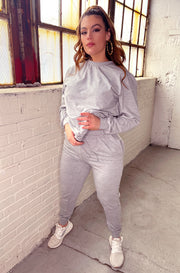 "Rebdolls ""Relaxed Fit"" Long Sleeve Crew Neck Top & High Waisted Joggers Set - Gray"