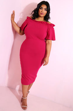 Fuchsia Paperbag Neckline Bodycon Midi Dress plus sizes