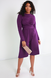 Purple Wide Leg Jumpsuit Plus Sizes