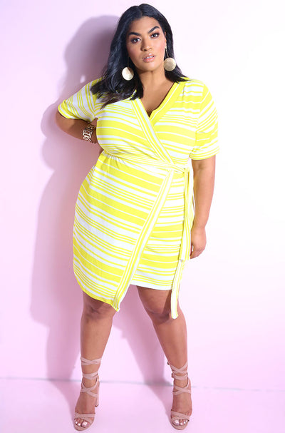 Yellow short sleeve wrap dress plus sizes