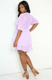 Lavender Polkadot Romper Dress Plus Sizes
