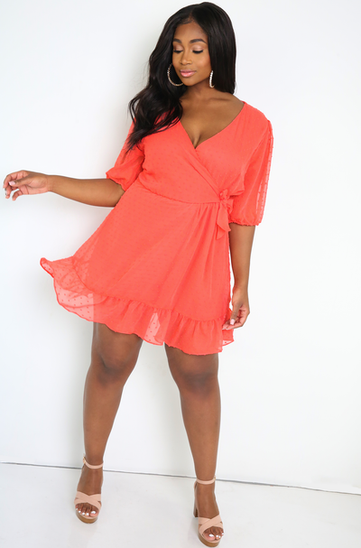 Coral Polkadot Romper Dress Plus Sizes