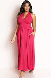 Fuchsia Caged Skater Maxi Dress plus sizes