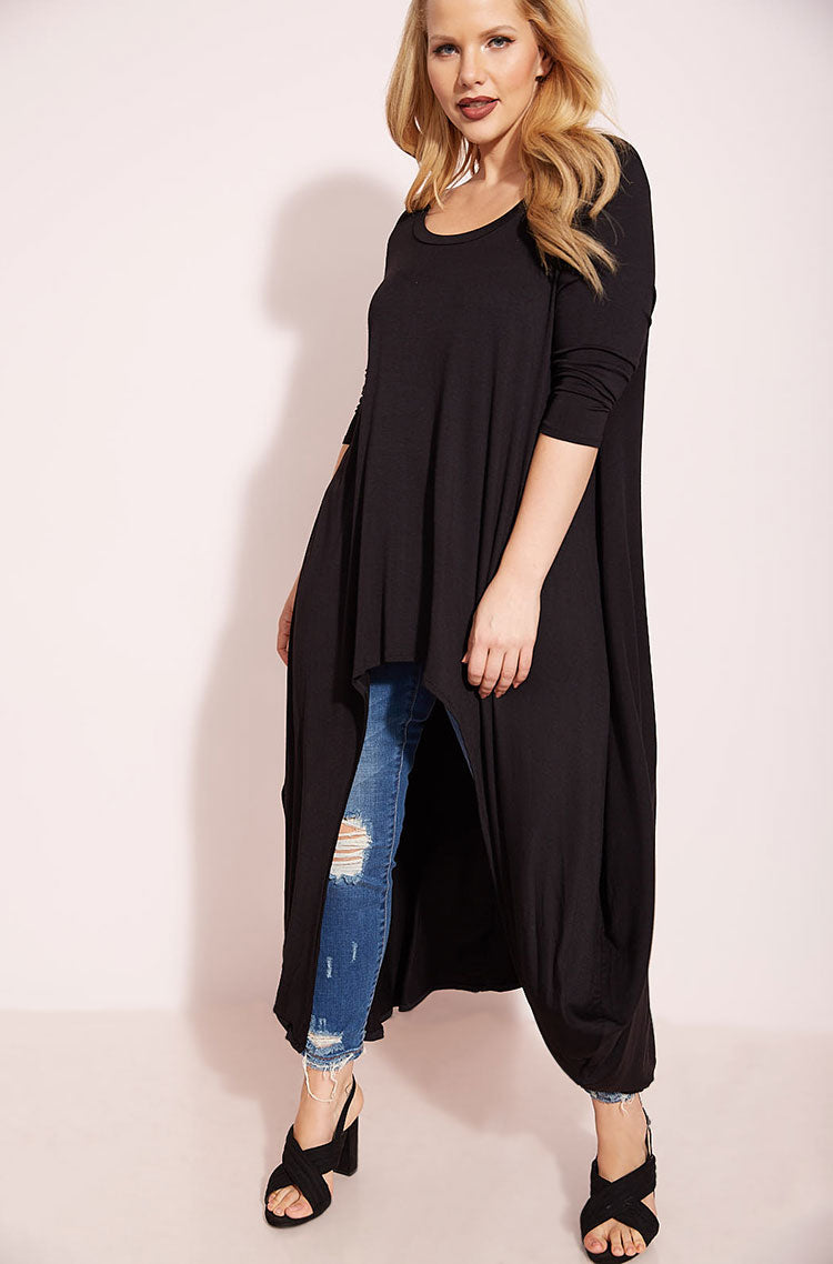 Black Draped High Low Top plus sizes