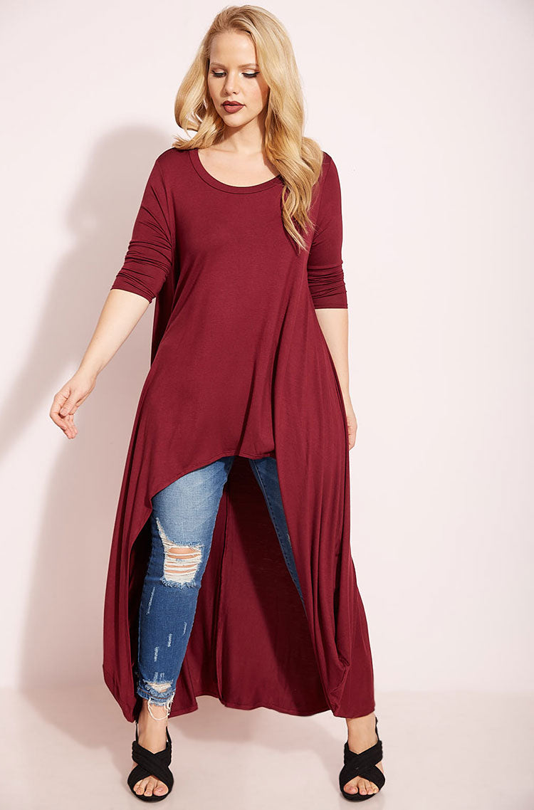 Burgundy Draped High Low Top plus sizes