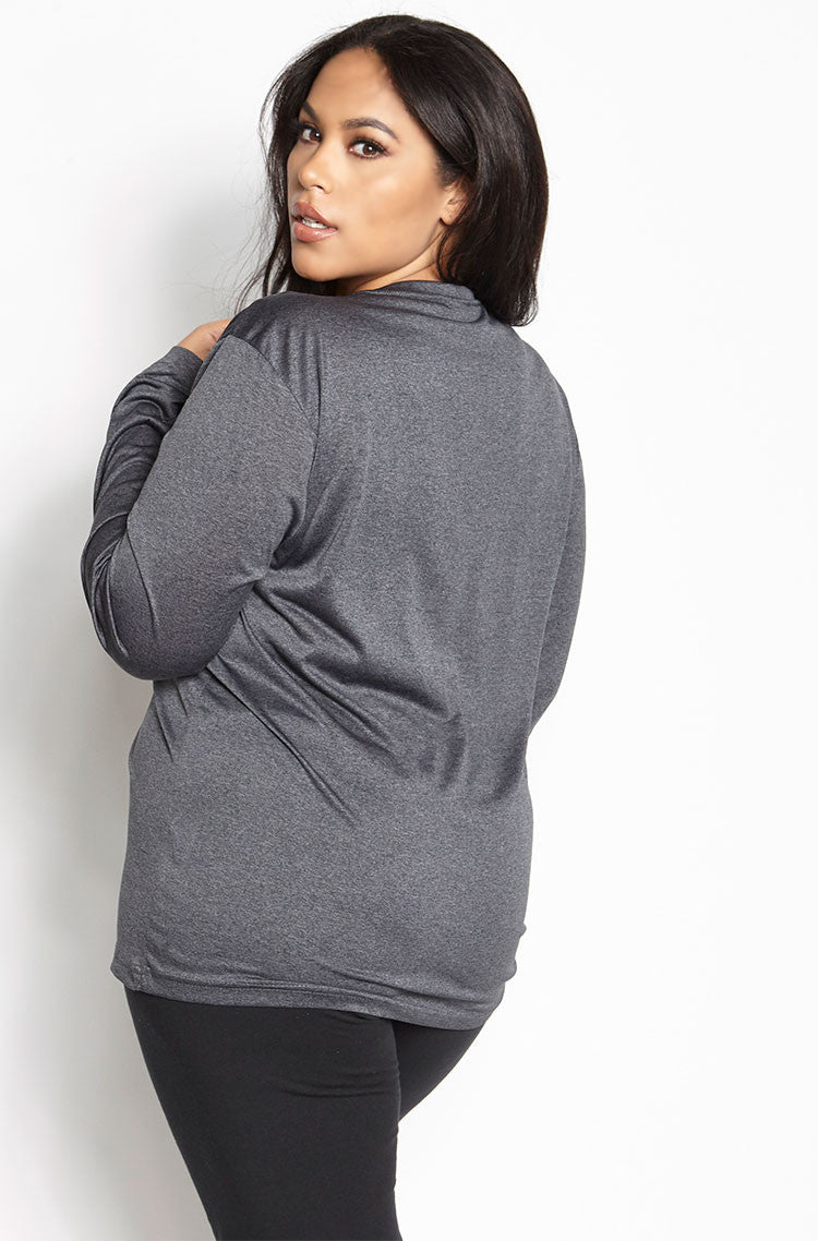 Gray Sportswear Long Sleeve Active T-Shirt plus sizes