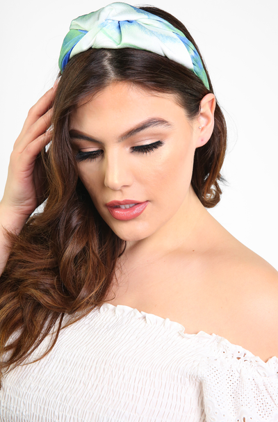 Green Tie Dye Knotted Headband
