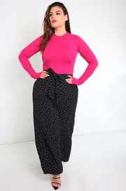 Black Woven Wide Leg Pants Plus Sizes