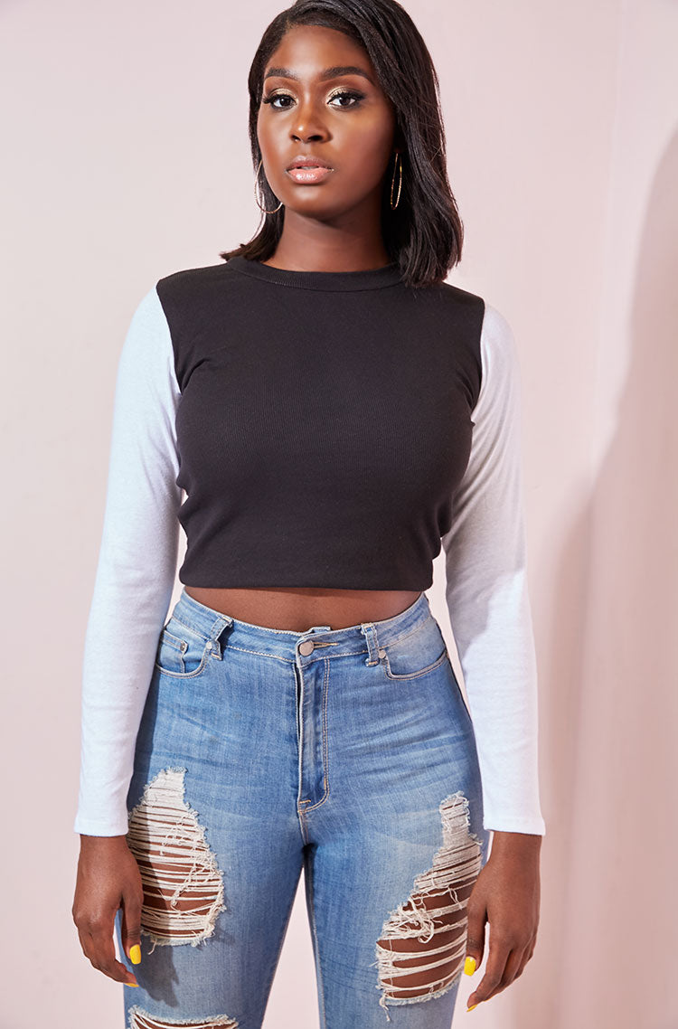Black Monochrome Long Sleeve Crop Top plus sizes