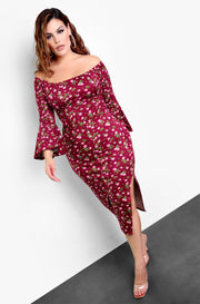Burgundy Floral Over The Shoulder Bodycon Midi Dress Plus Size