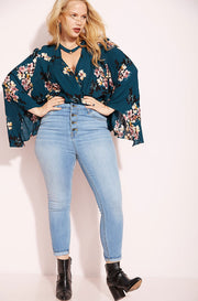 Blue Button Up Jeans plus sizes
