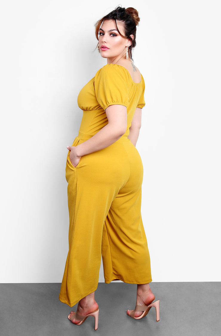Mustard Plunge Neck Jumpsuit with Puff Sleeves Plus Sizes