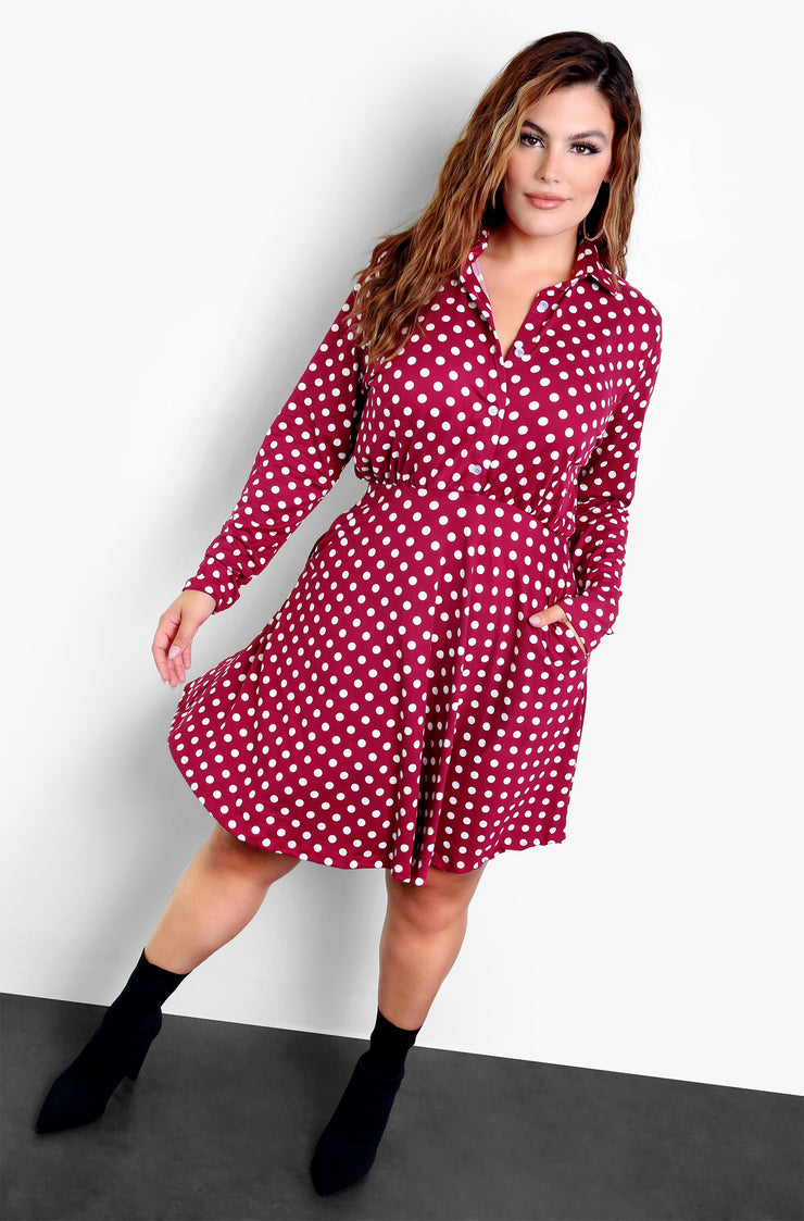 Burgundy Polka Dot Button Up Collared Midi Dress Plus Size